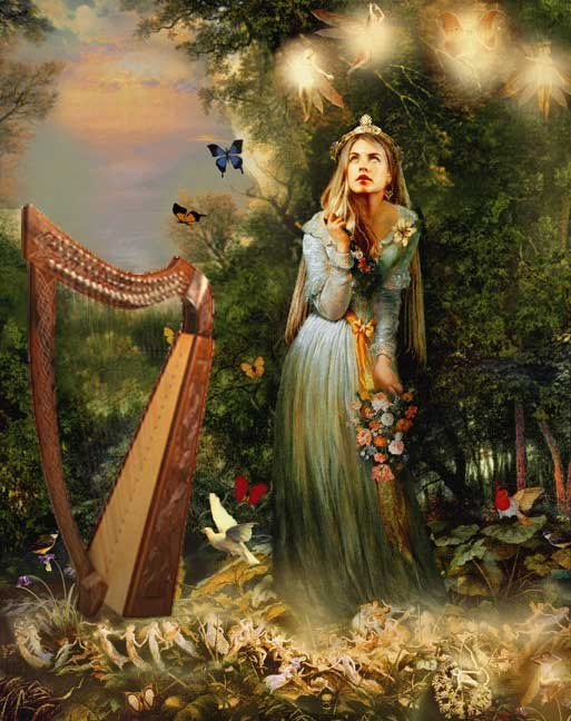 Trobaitiz with fairies and lever harp. Angelica Ottewill, Harp, Voice and Storytelling.